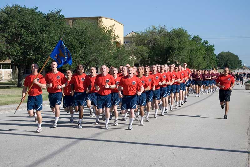Airman's Run during Lackland BMT Parade. Get your hotel near Lackland AFB today